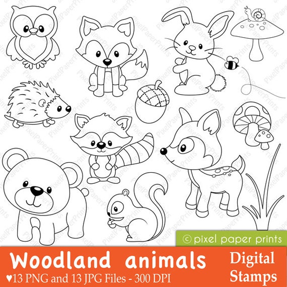 Woodland Animals Digital stamps Clipart | Etsy