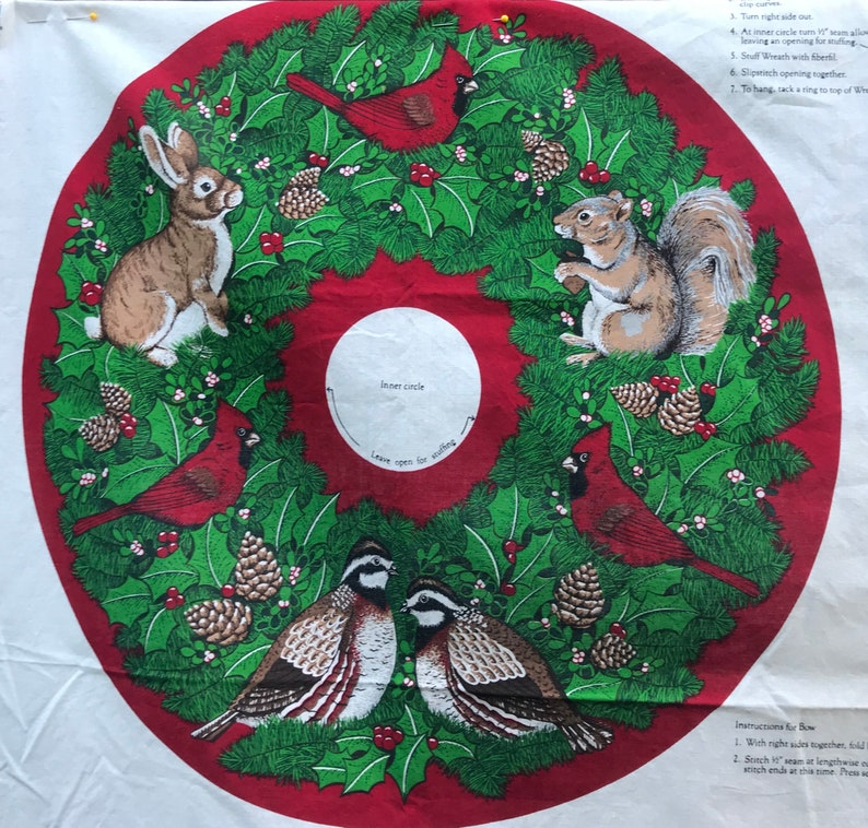 Christmas Wreath Quilt Panel image 0