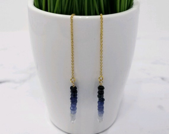 Gold Fill Sapphire Ear Threader Earrings