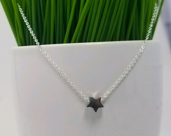 Tiny Sterling Silver Star Necklace, Silver Star Jewelry, Star Necklace