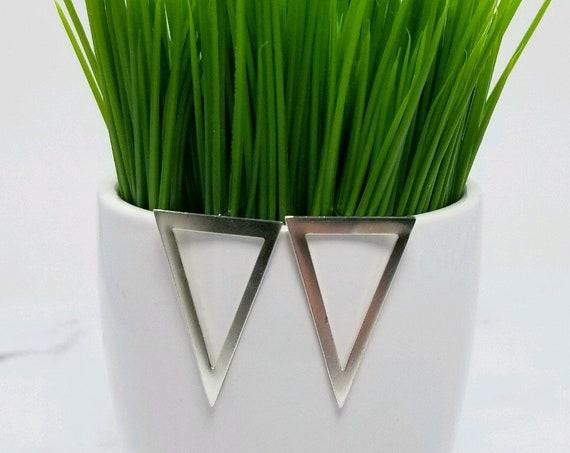Sterling Silver Open Triangle Stud Earring