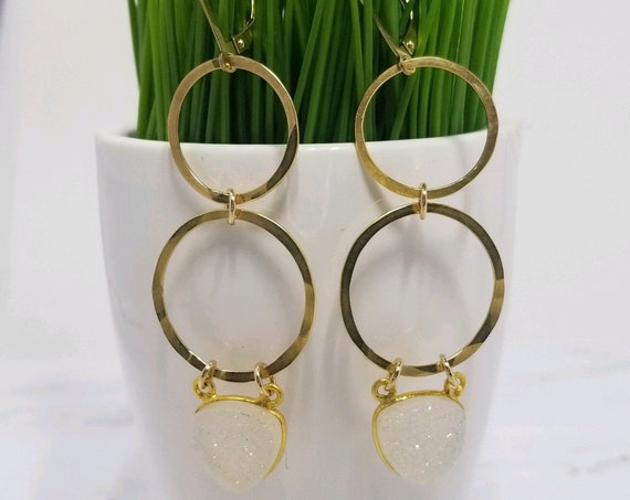 Gold fill hoop and druzy earrings