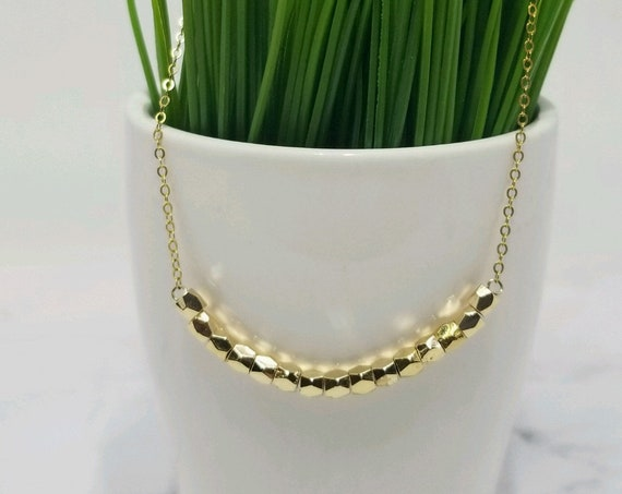 Gold Fill Sparkle Bar Necklace, Gold Fill Layer Necklace