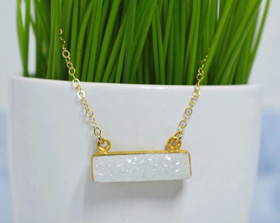 Gold Fill Sparkling Druzy Bar Necklace