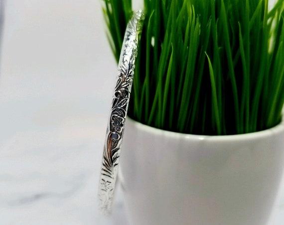 Vine Pattern Bangle Bracelet in Sterling Silver / 925 Skinny Stack/Stacking Bangle / Nature / Scroll / Floral