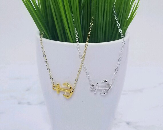 Sterling Silver or Gold Fill Anchor Necklace