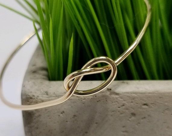 Gold Fill Love Knot Bangle Bracelet