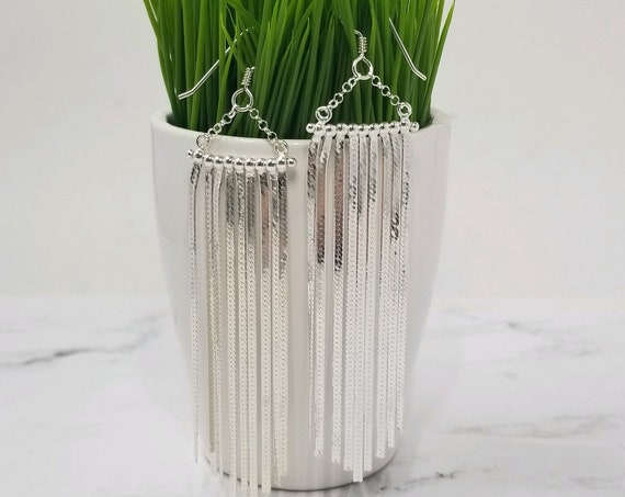 Sterling Silver Long Fringe Earrings