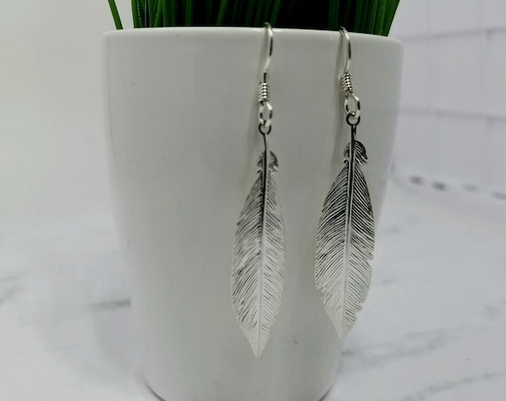 Sterling Silver Feather Earring Pair