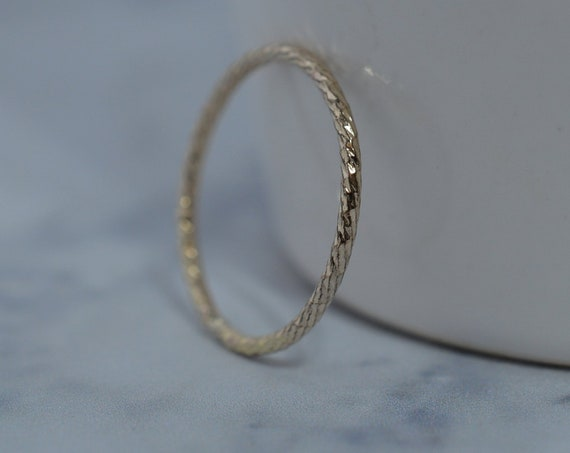 Gold Fill Ultra Thin Sparkle Ring - Gold Skinny Stack Band