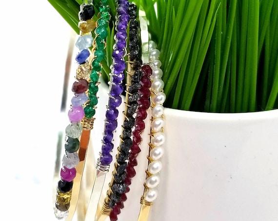 Sterling Silver Birthstone Bangle Bracelet - choose your stone