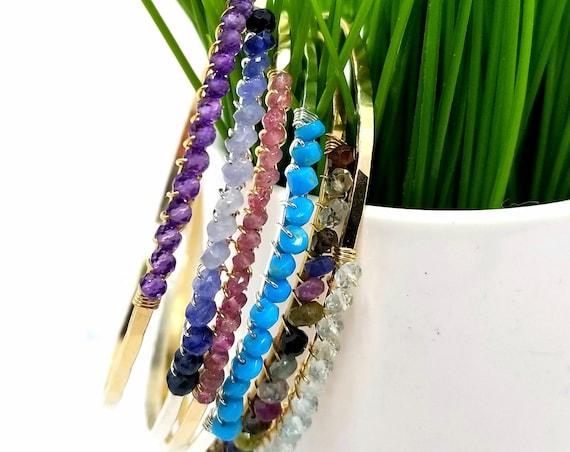 Gold Fill Birthstone Bangle Bracelet - choose your stone