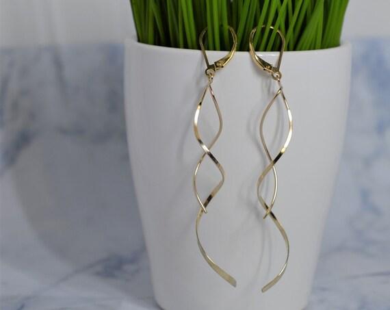 Gold Fill Spiral Dangle Earrings - Gold Spiral Earrings