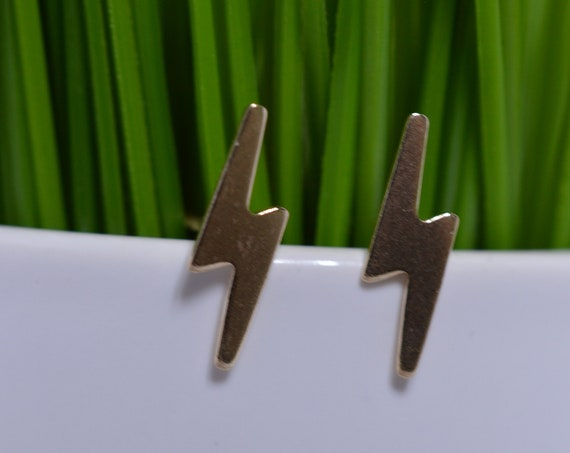 Gold Fill Lightning Bolt Stud Earrings (Pair)