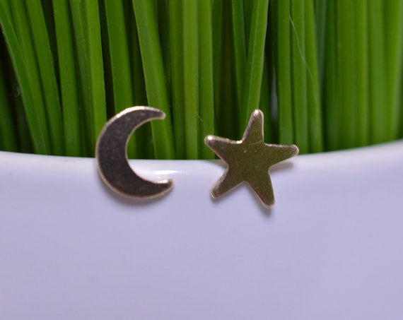 Small Gold Fill Moon and Star Earrings