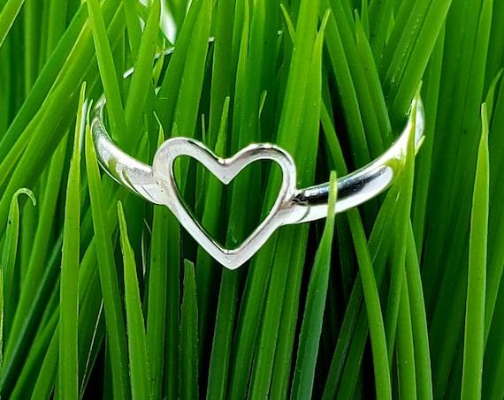 Heart Ring Sterling Silver / 925 Open Heart / Love Ring