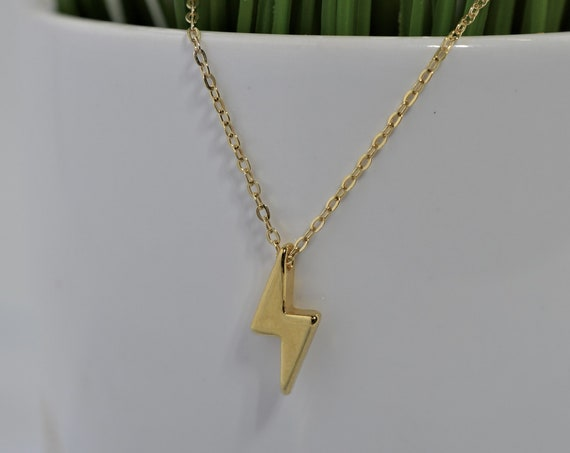 Tiny Gold Fill Lightning Bolt Necklace