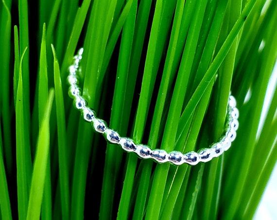 Skinny Sterling Silver Bead Ring - Midi or Regular ring