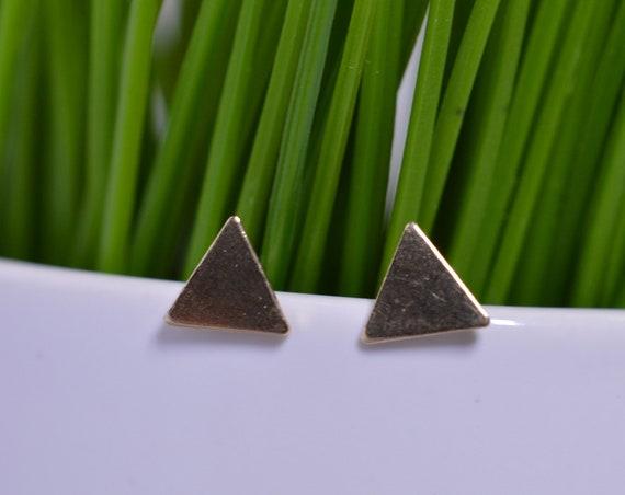 Tiny Gold Fill Triangle Post Earrings - Geometric Triangle Studs