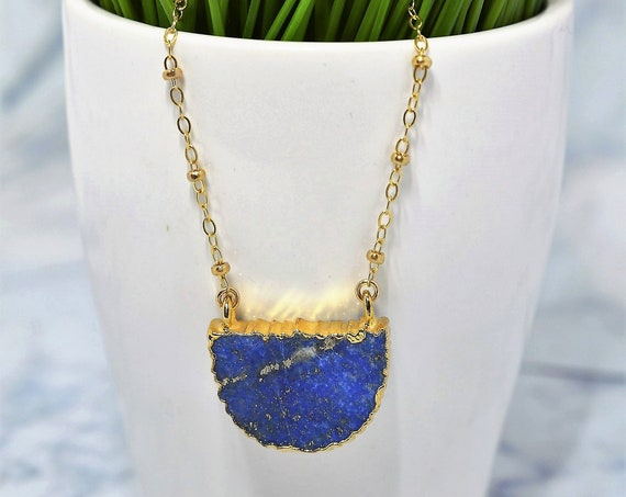 Gold Fill Lapis Lazuli Necklace - Half Moon Lapis Necklace
