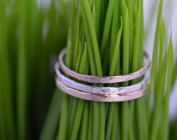Rose Gold Sterling Silver and Yellow Gold Ultra Skinny Stacking Ring Set, Mixed Metal Stackers