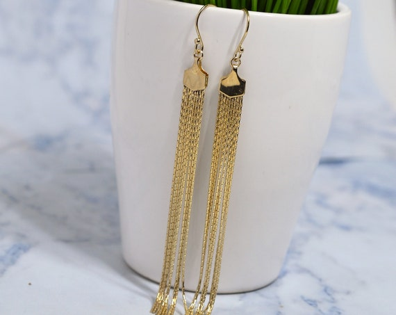 Gold Fill Fringe Earrings, Gold Tassel Earrings