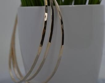 Gold Fill Skinny Hammered Bangle Bracelet, Gold Bangle
