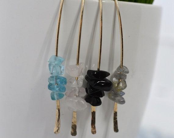 Gold Fill Marquis Earrings with Gemstones - Apatite, Rose Quartz, Obsidian, Labradorite