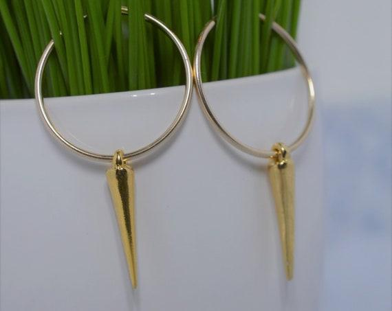 Gold Hoop Earrings with Spikes, Gold Spike Hoop Earrings