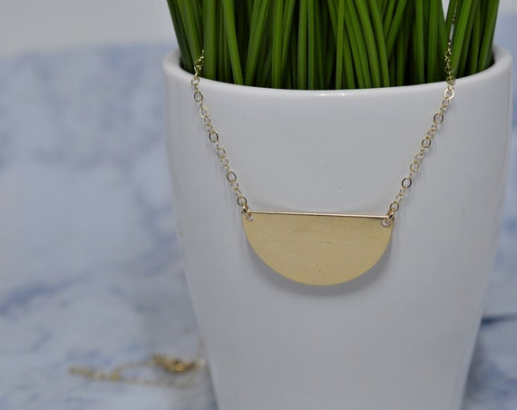 Gold Half Moon Necklace - Gold Fill Half Round Necklace