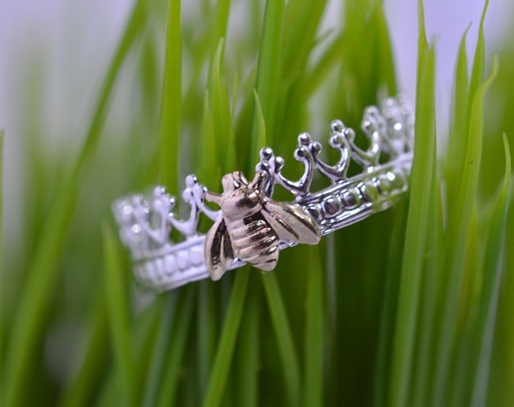 Sterling Silver and Gold Queen Bee Crown Ring with Gold Fill Bee