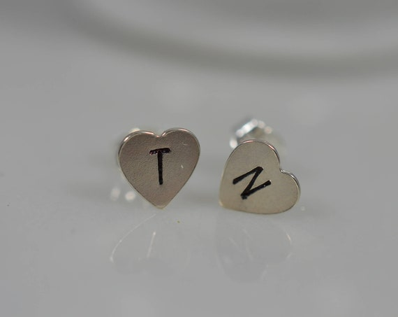 Sterling Silver Initial Earrings (Pair) - Custom Silver Letter Stud/Post Earrings