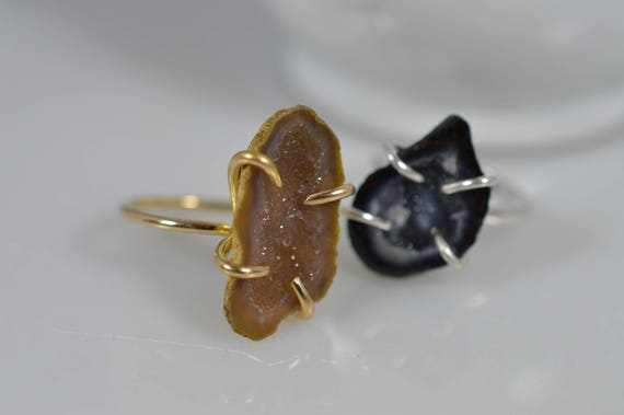 14k Solid Gold Geode Ring - choose your stone
