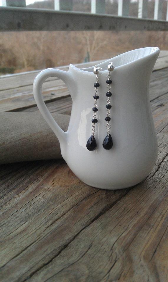 Sterling Silver and Onyx Teardrop Earrings