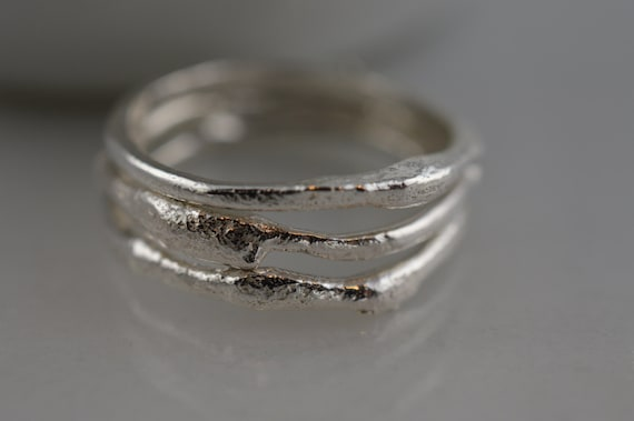 Set of Three Sterling Silver Free Form Twig Ring
