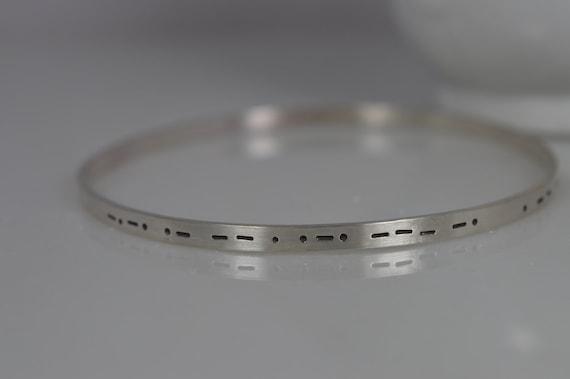 Sterling Silver Custom Morse Code Bangle Bracelet