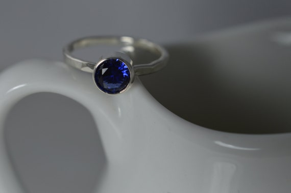 Sterling Silver Gemstone Ring - 5mm Lab Created Sapphire Ring -September Birthstone Ring