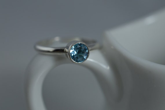 Sterling Silver Gemstone Ring - 5mm Silver Blue Topaz Ring - December Birthstone Stacking Ring