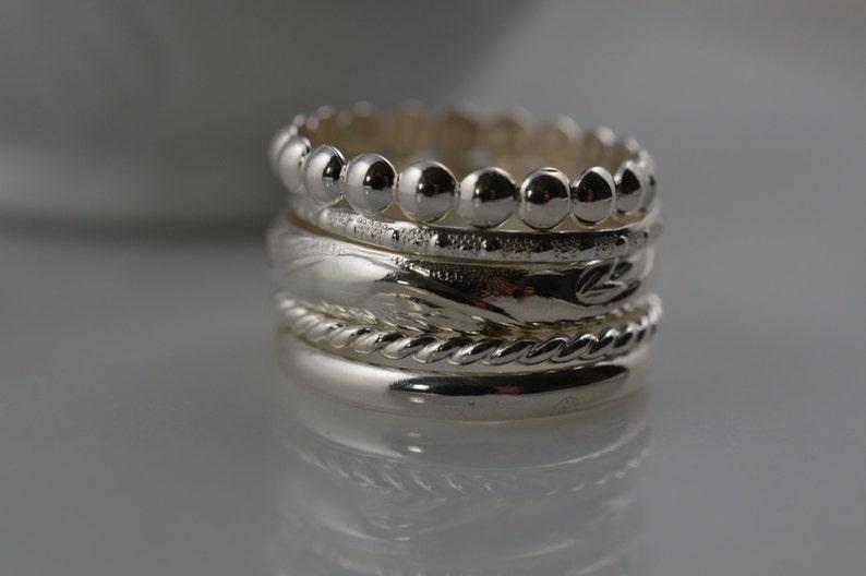 Sterling Silver Stacking Ring Set of 5 Pattern Rings / Custom image 0