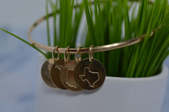 Gold Fill State Charm Bangle Bracelet - Choose from all 50 states!
