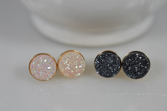 14k SOLID gold Druzy Stud Earring Pair in Black or White - 8mm