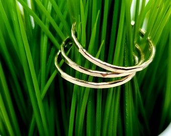 Set of 3 14k Gold Hammered Ring SOLID GOLD - 3 Rings