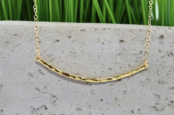 Gold Fill Hammered Bar Necklace
