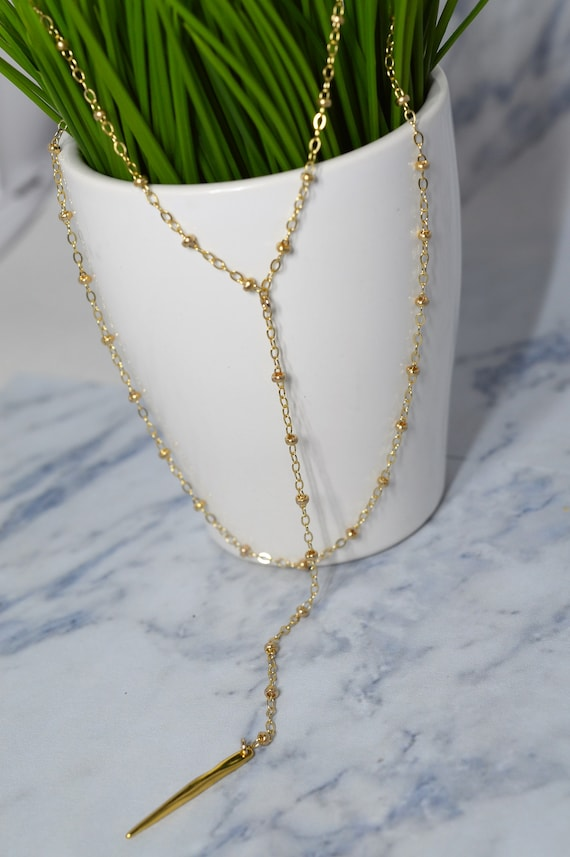 Gold Fill Double Strand Lariat necklace, Gold Y Necklace