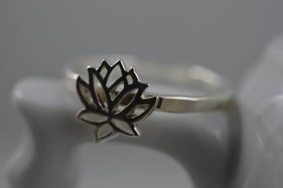 Lotus Flower Ring In Sterling Silver 925 Lotus Ring Etsy