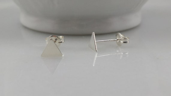 Tiny Sterling Triangle Post Earrings - Geometric Triangle Studs