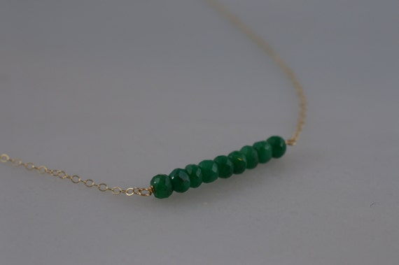 14k Gold and Emerald Bar Necklace