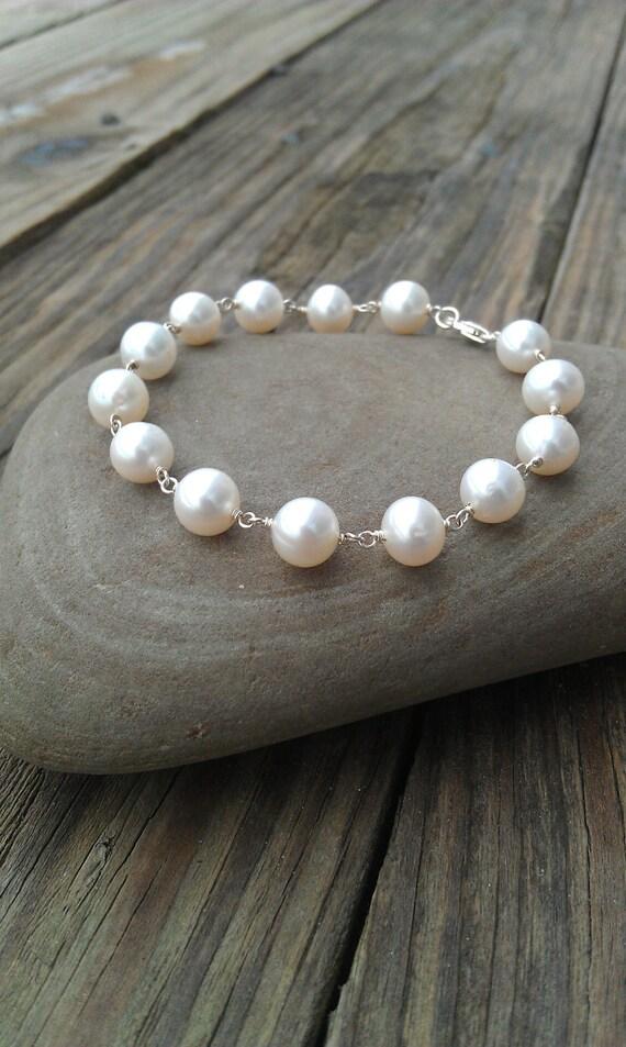 Sterling Silver and Large Pearl Bracelet- Stackable Bracelet