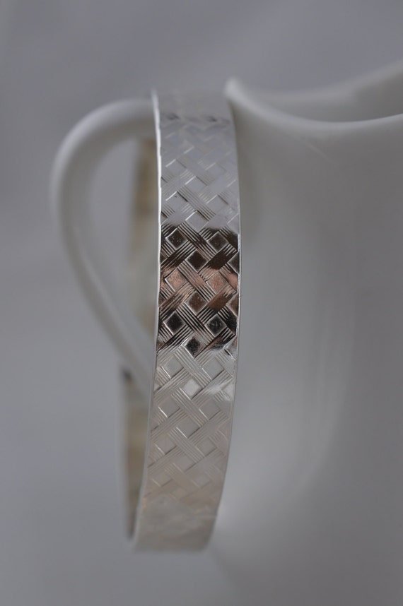 Heavy Sterling Silver Wide Basket Weave Bangle Bracelet / Thick Pattern Bangle/ Stacking, Stack Bangle