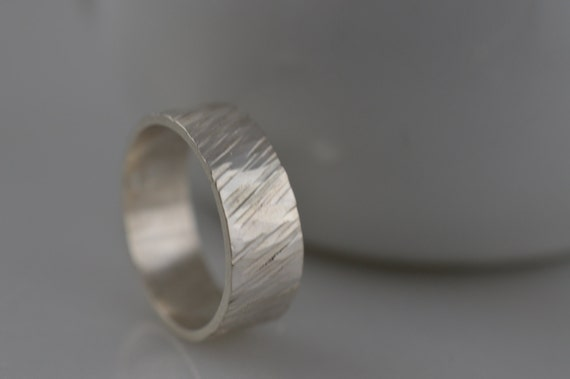 Sterling Silver Wide Textured Ring - Tree Bark Ring